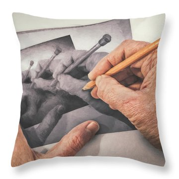 Hands Drawing Hands Throw Pillow