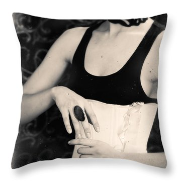 Throw Pillow featuring the photograph Hands Of A Young Girl With A Ring. by Andrey  Godyaykin