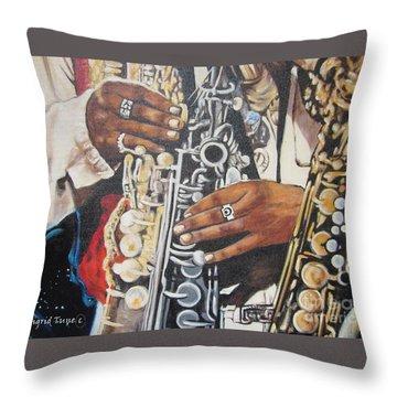 Blaa Kattproduksjoner        Hands Of Music - 2 Throw Pillow