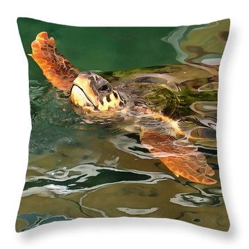 Hands Up For A Plastic Free Ocean Loggerhead Turtle Throw Pillow