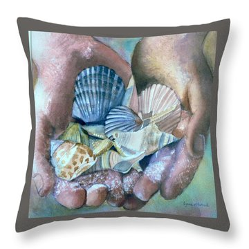Hands With Shells Throw Pillow