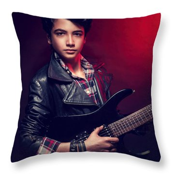 Handsome Guy With Guitar Throw Pillow