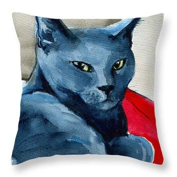 Handsome Russian Blue Cat Throw Pillow