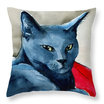 Handsome Russian Blue Cat Throw Pillow