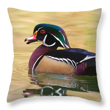 Throw Pillow featuring the photograph Handsome Wood Duck by Ram Vasudev
