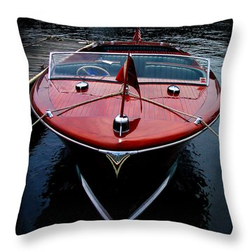 Handsome Wooden Boat Throw Pillow