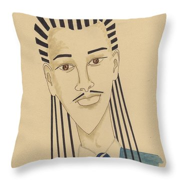 Handsome Young Man -- Stylized Portrait Of African-american Man Throw Pillow