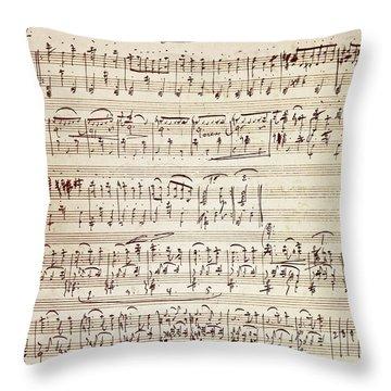 Handwritten Score For Waltz For Piano, Opus 39 Throw Pillow