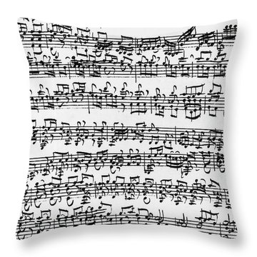 Handwritten Score Of Sonata No 1 For Solo Violin Throw Pillow