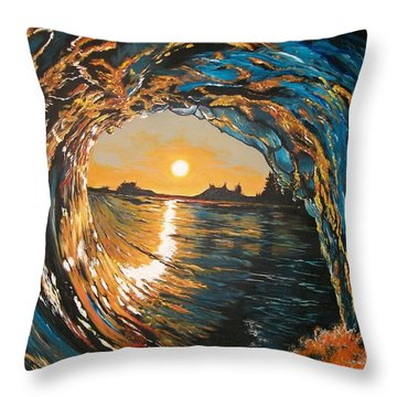 Throw Pillow featuring the painting Hang Ten In Tofino by Sharon Duguay