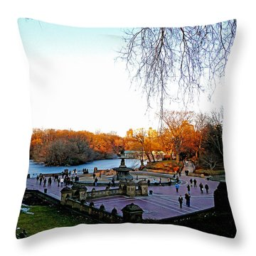Hangin' At Bethesda Fountain Throw Pillow