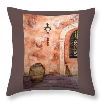 Hanging Around Throw Pillow by Bonnie Rabert