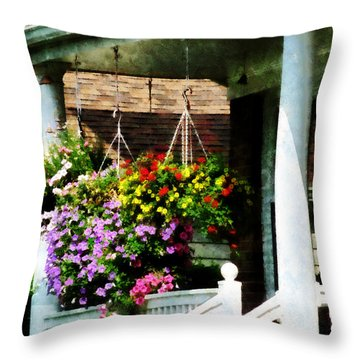 Hanging Baskets Throw Pillow by Susan Savad