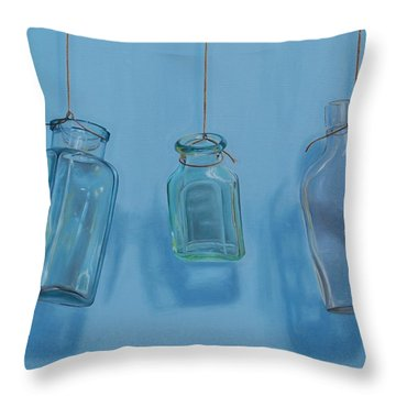 Hanging Bottles Throw Pillow