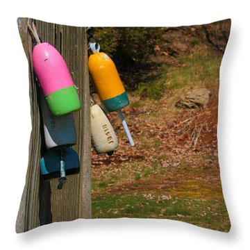 Throw Pillow featuring the photograph Hanging Buoys by Debbie Stahre
