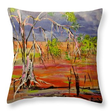 Throw Pillow featuring the painting Hanging On by Lyn Olsen