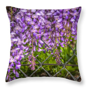 Hanging On The Fence, Wisteria Throw Pillow