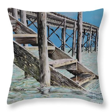 Hanging Out At Cherokee Long Dock Throw Pillow