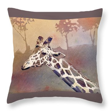 Throw Pillow featuring the painting Hanging Out- Giraffe by Ryan Fox