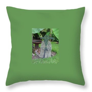Hanging Out In The Garden Throw Pillow by Val Oconnor