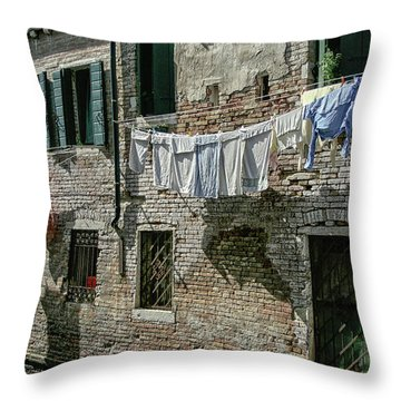Hanging Out The Flags Throw Pillow