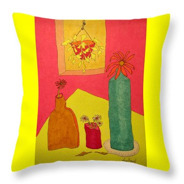 Hanging Plant And 3 On Table Throw Pillow
