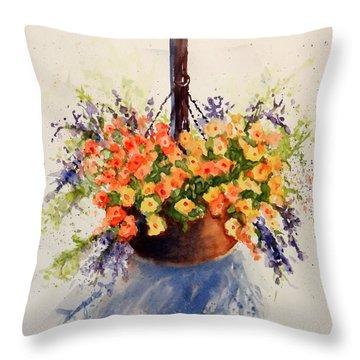 Hanging Spring Basket Throw Pillow