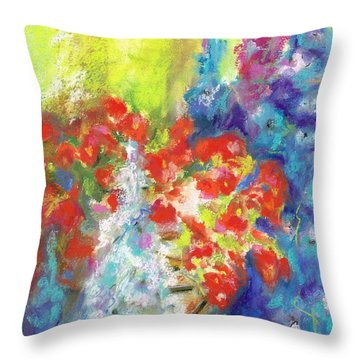 Throw Pillow featuring the painting Hanging With The Delphiniums  by Frances Marino