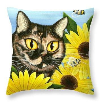 Hannah Tortoiseshell Cat Sunflowers Throw Pillow