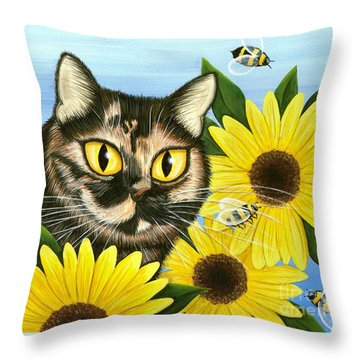 Throw Pillow featuring the painting Hannah Tortoiseshell Cat Sunflowers by Carrie Hawks