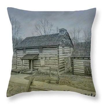 Throw Pillow featuring the digital art Hannastown Log Cabin One by Randy Steele