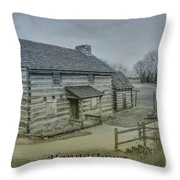 Throw Pillow featuring the digital art Hannastown Log Cabin Two by Randy Steele