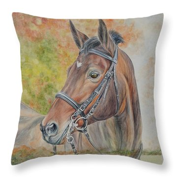 Hanovarian Dressage Horse Throw Pillows