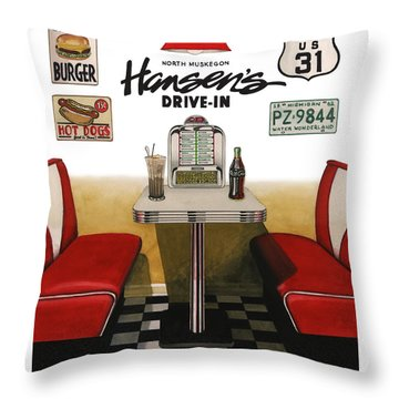 Hansen's Drive-in Throw Pillow