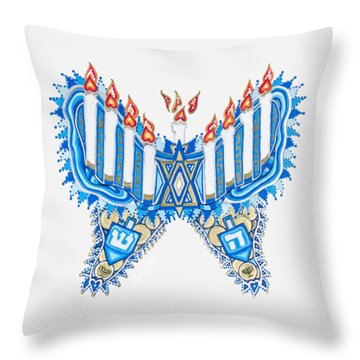 Hanukkah Butterfly Throw Pillow