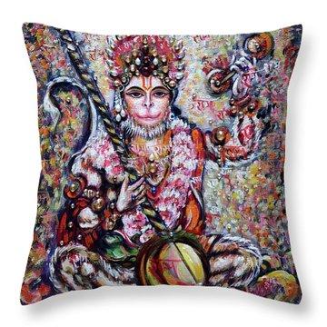 Hanuman - Ecstatic Joy In Rama Kirtan Throw Pillow
