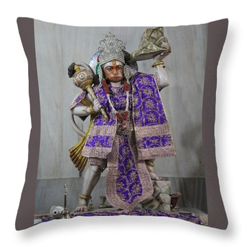Hanuman Ji, Neem Karoli Baba, Vrindavan Throw Pillow by Jennifer Mazzucco