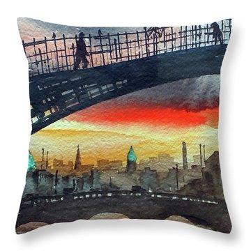 Hapenny Bridge Sunset, Dublin...27apr18 Throw Pillow