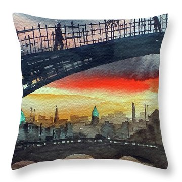 Hapenny Bridge Sunset, Dublin...27apr18 Throw Pillow