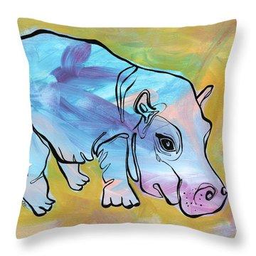 Happily Hippo Throw Pillow