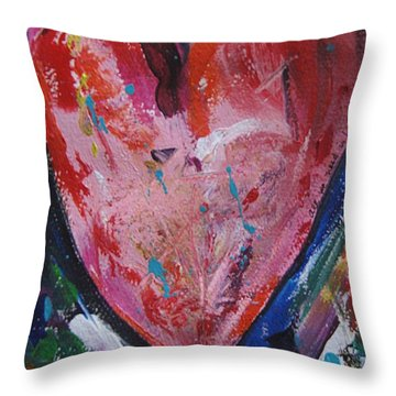 Throw Pillow featuring the painting Happiness by Diana Bursztein