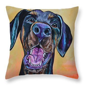 Throw Pillow featuring the painting Happiness Is A Dog by Patti Schermerhorn
