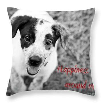Happiness Is All Around Me Throw Pillow by Amanda Barcon
