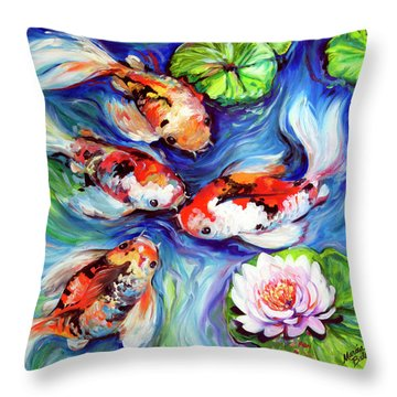 Happiness Koi Throw Pillow