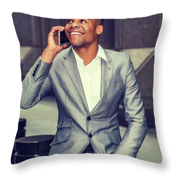 Happy African American Businessman Working In New York 15082323 Throw Pillow
