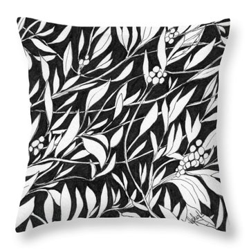 Throw Pillow featuring the painting Happy Berries by Lou Belcher