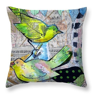 Happy Birds Throw Pillow