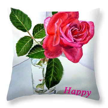 Happy Birthday Card Rose  Throw Pillow