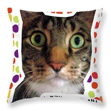 Happy Birthday Cat- Art By Linda Woods Throw Pillow
