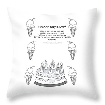 Throw Pillow featuring the drawing Happy Birthday by John Haldane